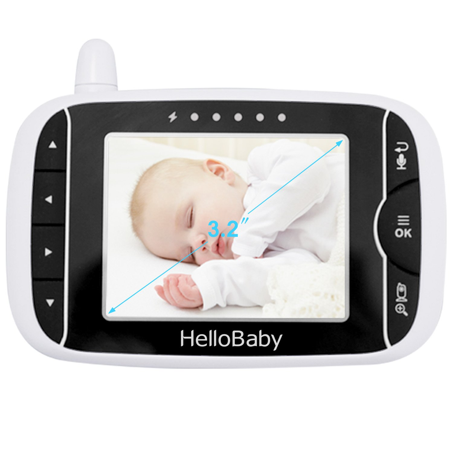 White Night Vision Temperature Monitoring /& 2 Way Talkback System Hello Baby Wireless Video Baby Monitor with Digital Camera HB24