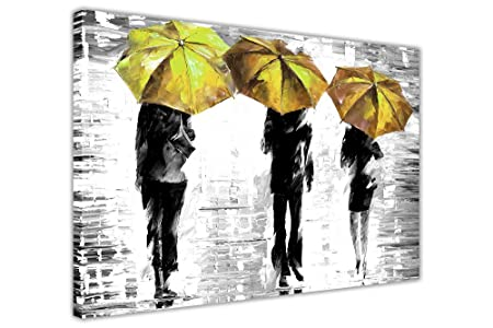Canvas it up 3 yellow umbrellas by leonid afremov canvas wall art prints framed pictures black
