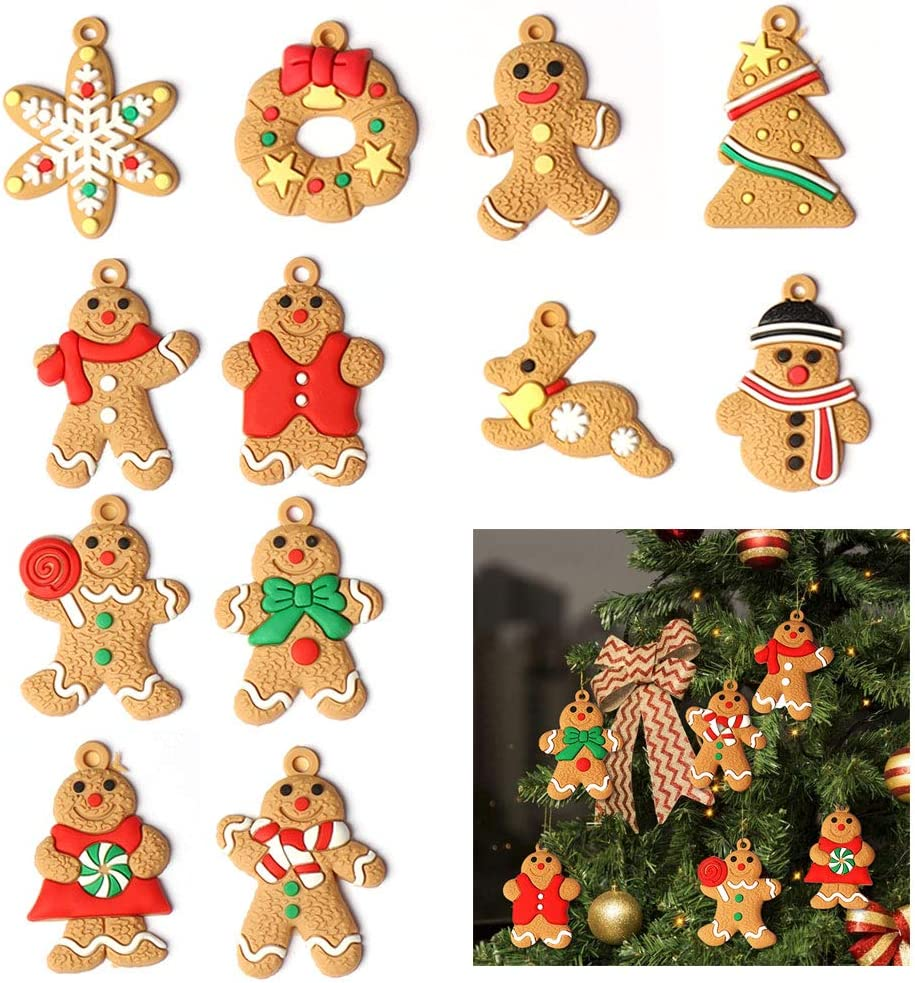 NY Gingerbread Ornaments Christmas Tree Decor 12 Pieces Gingerbread Man Doll Hanging Ornaments Set for The Home Indoor Outdoor Personalized Holiday Christmas Theme Party Hanging Decorations Supplies