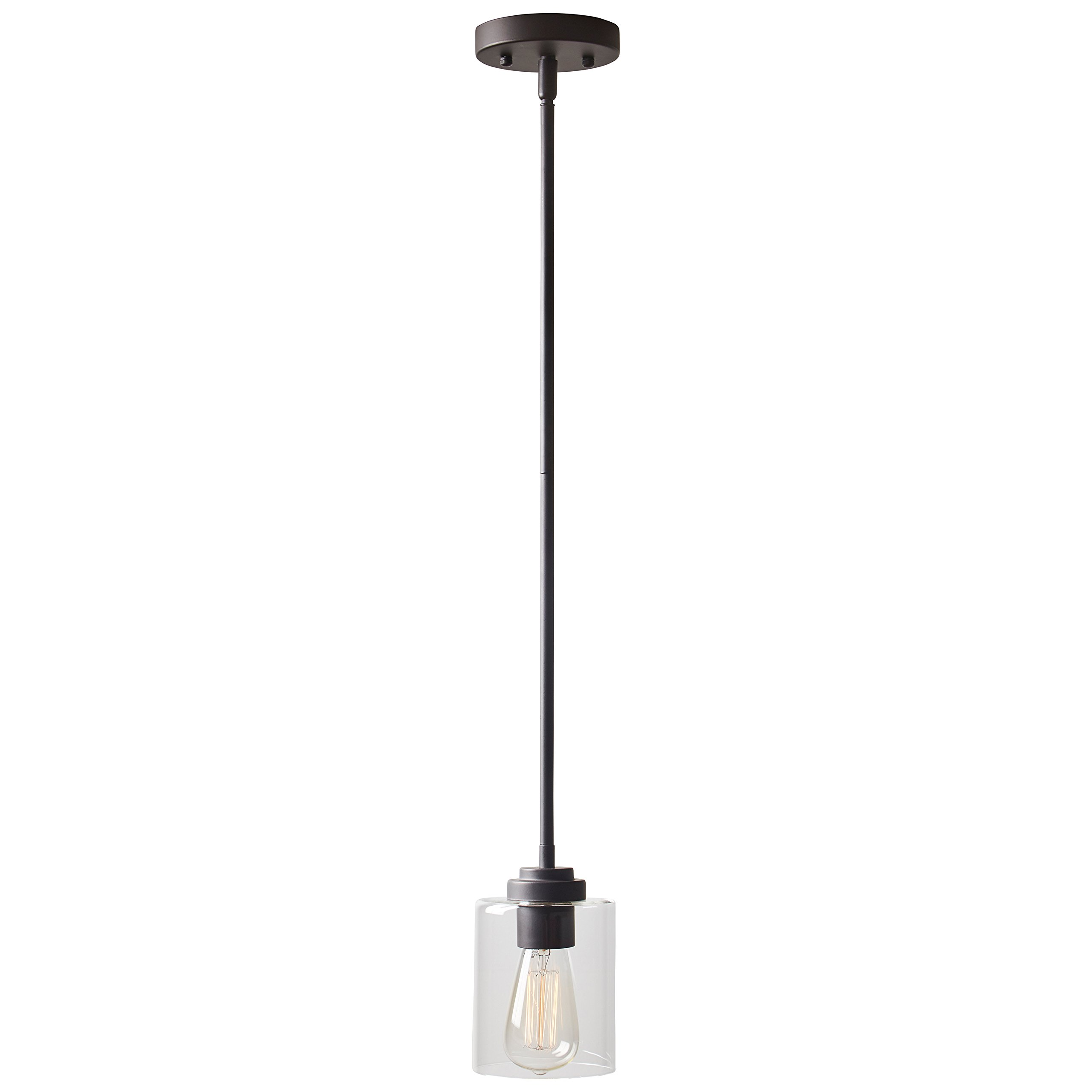 Stone & Beam Modern Cylinder Pendant Light with Bulb, 10''-58'' H, Oil-Rubbed Bronze