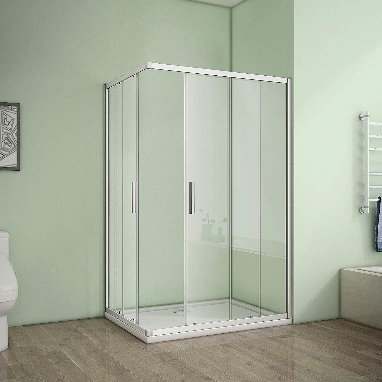 Cabina de ducha esquina. Mampara de ducha puerta corredera ducha pared vidrio templado de 6 mm Altura 185 cm: Amazon.es: Bricolaje y herramientas