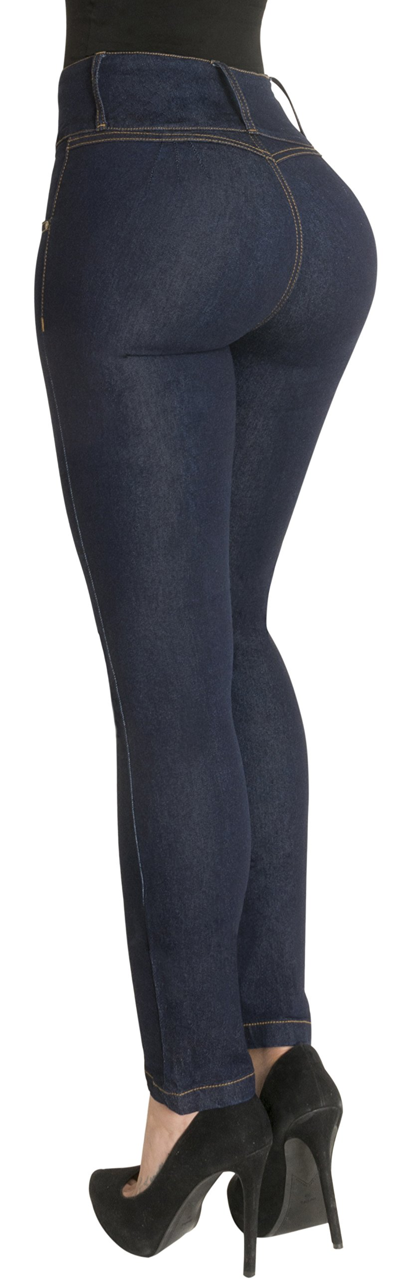 Butt Lifter Jeans High Waist Push Up Authenthic Levanta Cola Colombianos 500DB Dark Blue Size 11 USA / 16 COL