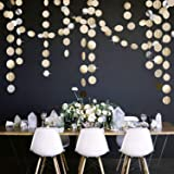 5Pcs Glitter Champagne Gold Paper Circle Dots Garland Banners Streamers Hanging Bunting Ornament for Engagement Party Bridal
