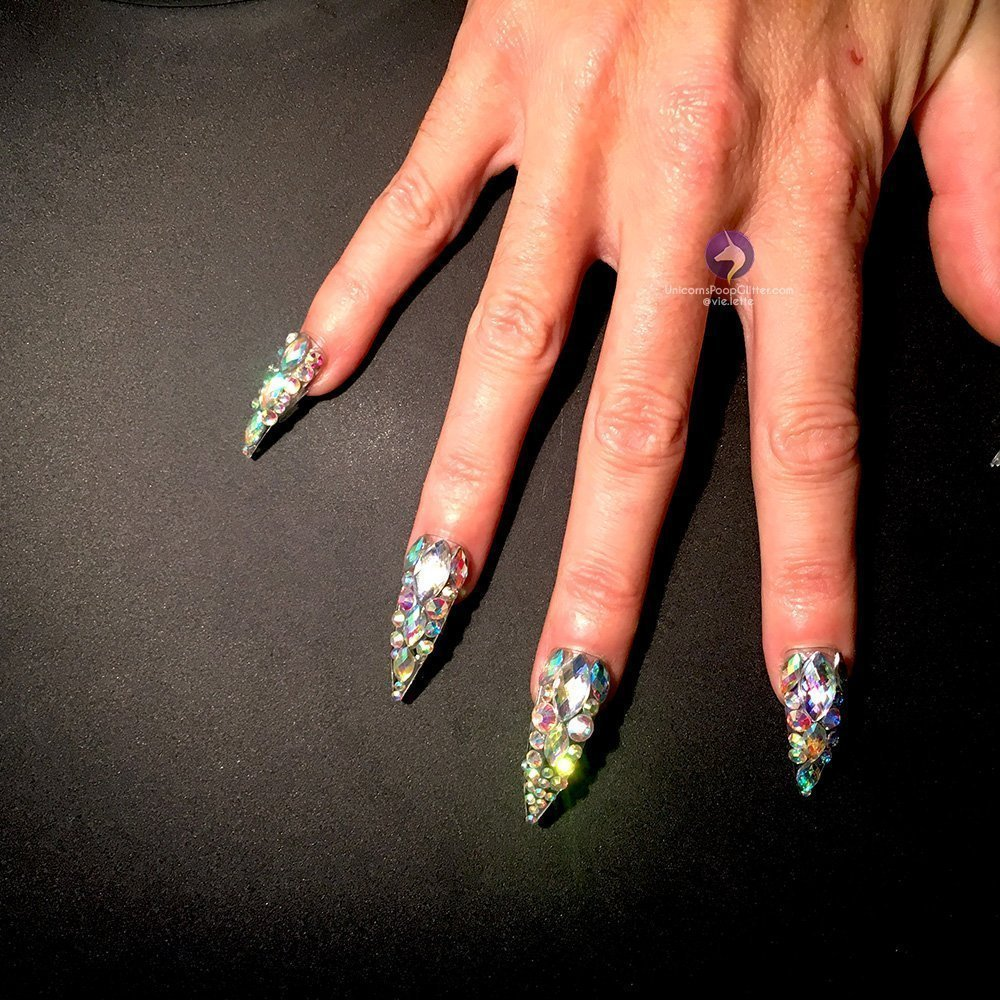 Handcrafted DIAMANTE Nails - ALL BLING Long Stiletto False Nails