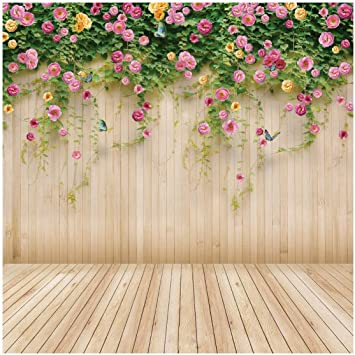 Floral 10x12 FT Backdrop Photographers,Hand Drawn Style Blossoms with Little Dots and Spirals Nature Inspired Art Background for Baby Shower Bridal Wedding Studio Photography Pictures Ruby Pale Yello