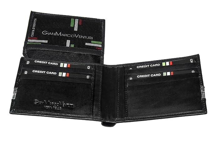 Cartera hombre GIANMARCO VENTURI negro cuero porta tarjetas de credito A3820: Amazon.es: Ropa y accesorios