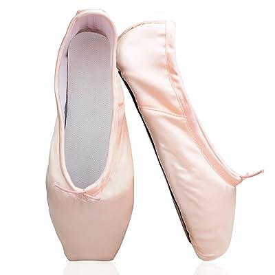 KUKOME New Ballet Dance Toe Shoes Professional Ladies Satin Pointe Shoes