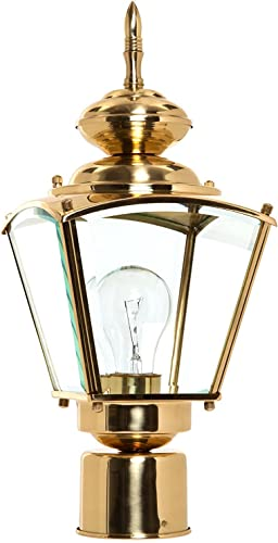 Boston Harbor 4007H2 3986627 Dimmable Outdoor Lantern, 1 100 23 W Medium A19 Cfl Lamp, Polished, Brass