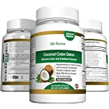 Coconut Colon Detox Supplement, Natural Colon Cleanse Pills for Weight Loss, Psyllium Husk Capsules and Appetite Suppressant for Women and Men (60 Veggie Caps, 30 Day Supply) Made in USA