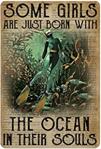 Retro Vintage Metal Sign Dictionary Some Girls with The Ocean Scuba Diving Reproduction Metal Tin Sign Wall Decor for Cafe Bar Pub Home 12