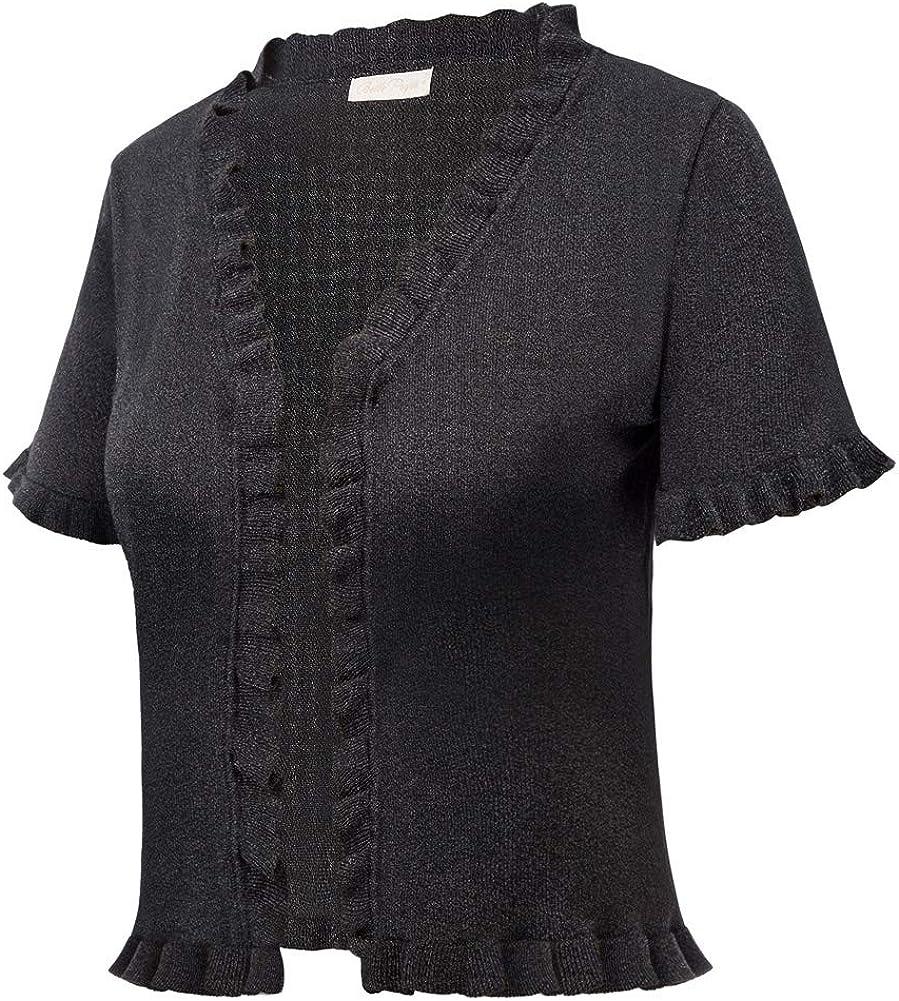 a maniche lunghe Belle Poque BPS77 in lana elegante Gilet da donna vintage