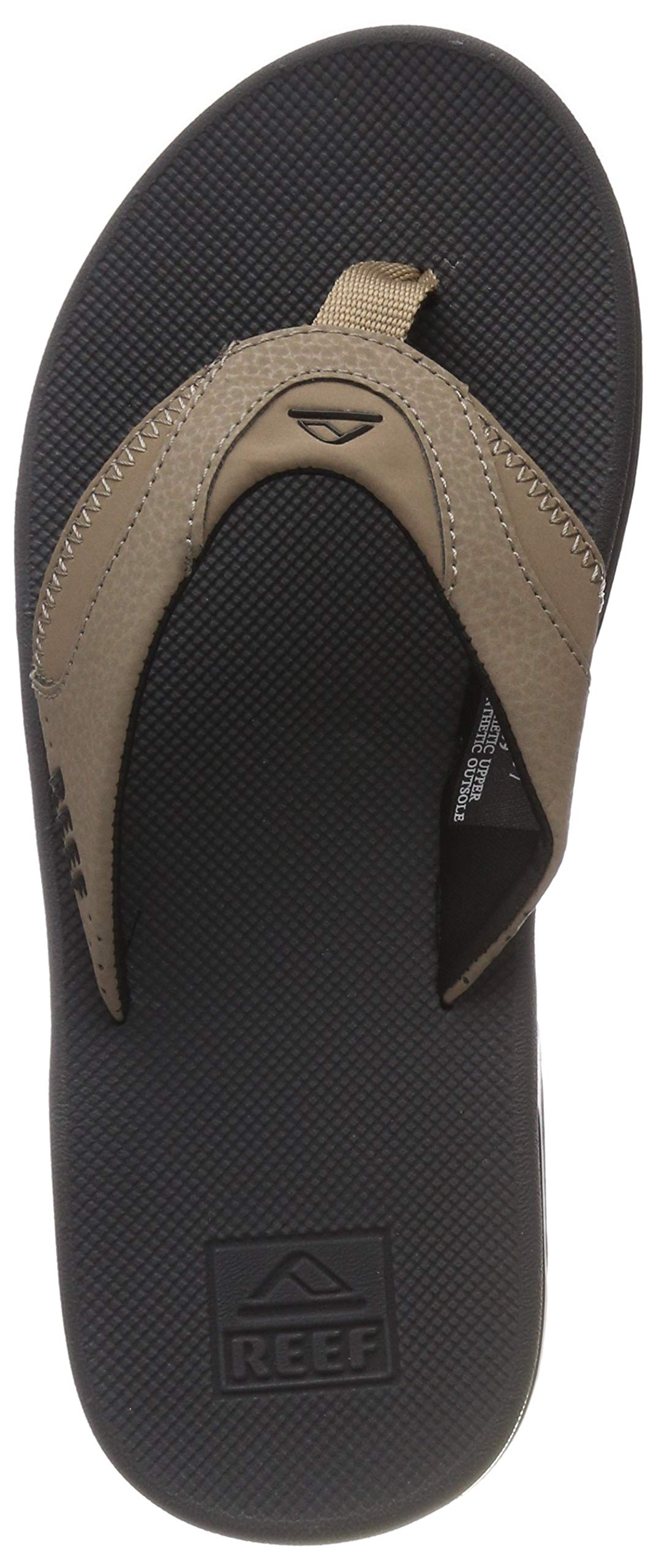 Reef Fanning Mens Sandals Bottle Opener Flip Flops for Men,Tan/Black/Tan, 8 M US