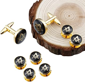 d746a7859c1d Freemason Cufflinks and Tuxedo Shirt Studs Set - Men' Wedding Accessories.  HAWSON Freemason Cufflinks and Tuxedo Shirt Studs Set - Men' Wedding  Accessories