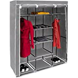 Relaxdays Faltschrank VALENTIN XXL H x B x T: 173 x 148 x 42,5cm Stoffschrank mit 2 Kleiderstangen und 9 Ablagen als Garderobenschrank und Campingschrank zum Falten Kleiderschrank aus Stoff, anthrazit