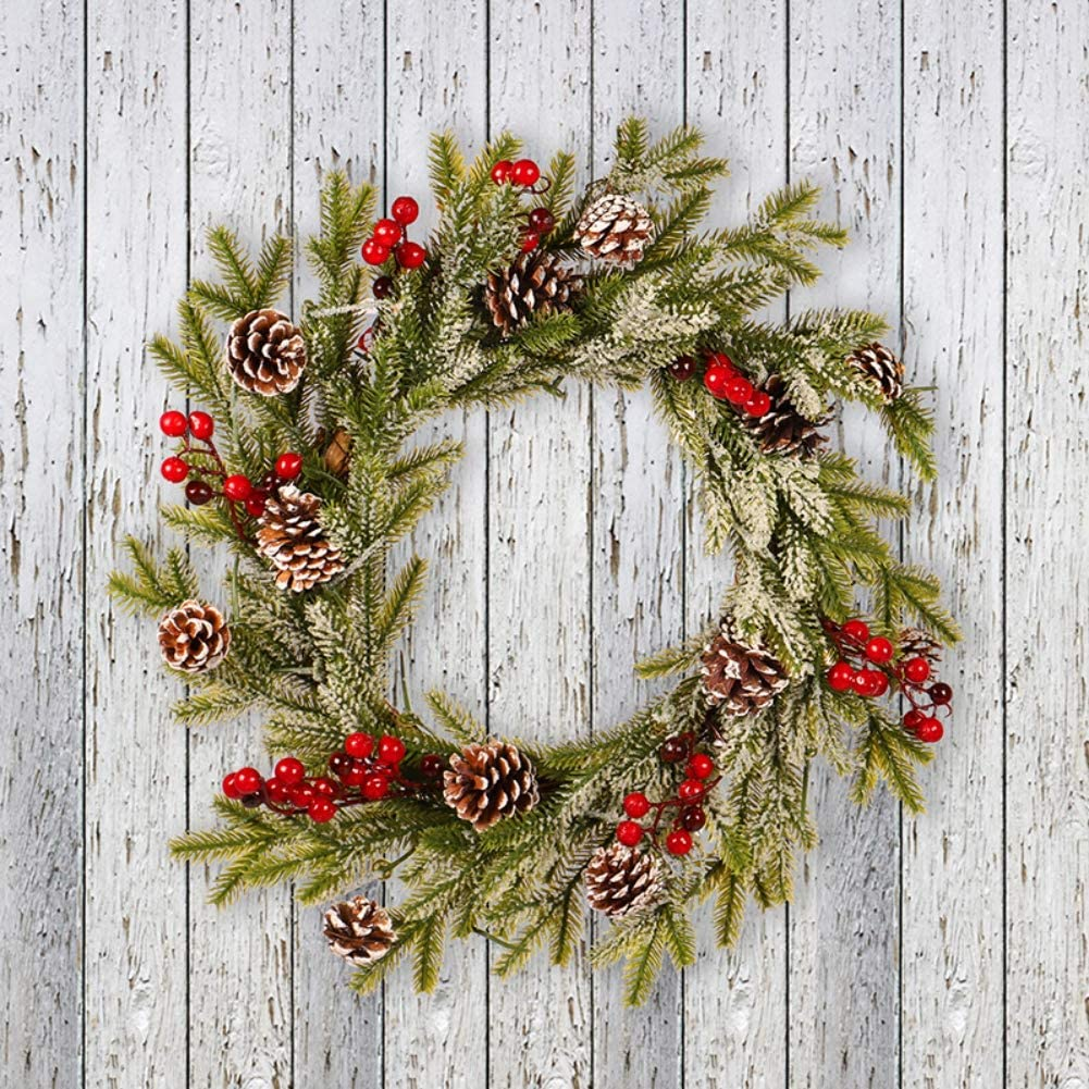 TJK 19.7inch Christmas Door Wreath- Unique White Pinecone Red Fruit Frosted Flocking Pendant Decoration for Front Door, Window