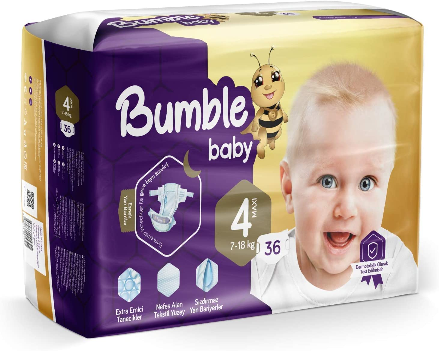 Bumble Baby Diapers, Size 4 7-18KG 36 Counts drip Proof barriers, Textile Surfaces, Absorbing Particles, Ultra-Flexible Side Grip Strips (4)