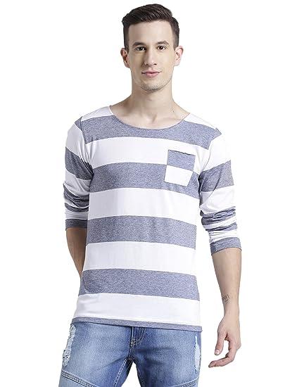 be5d9cf1b Rigo Black White Stripe Scoop Neck Full Sleeve T-Shirt for Men: Amazon.in:  Clothing & Accessories