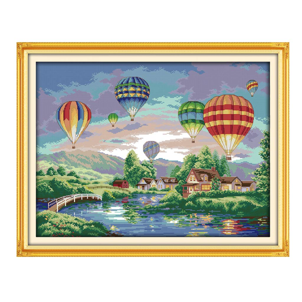 EHOO Hot Air Balloon Cross Stitch DIY Handmade Needlework Set Embroidery Kit Precise 14CT Printed Cross-Stitching Set Home Decoration-60/×47cm