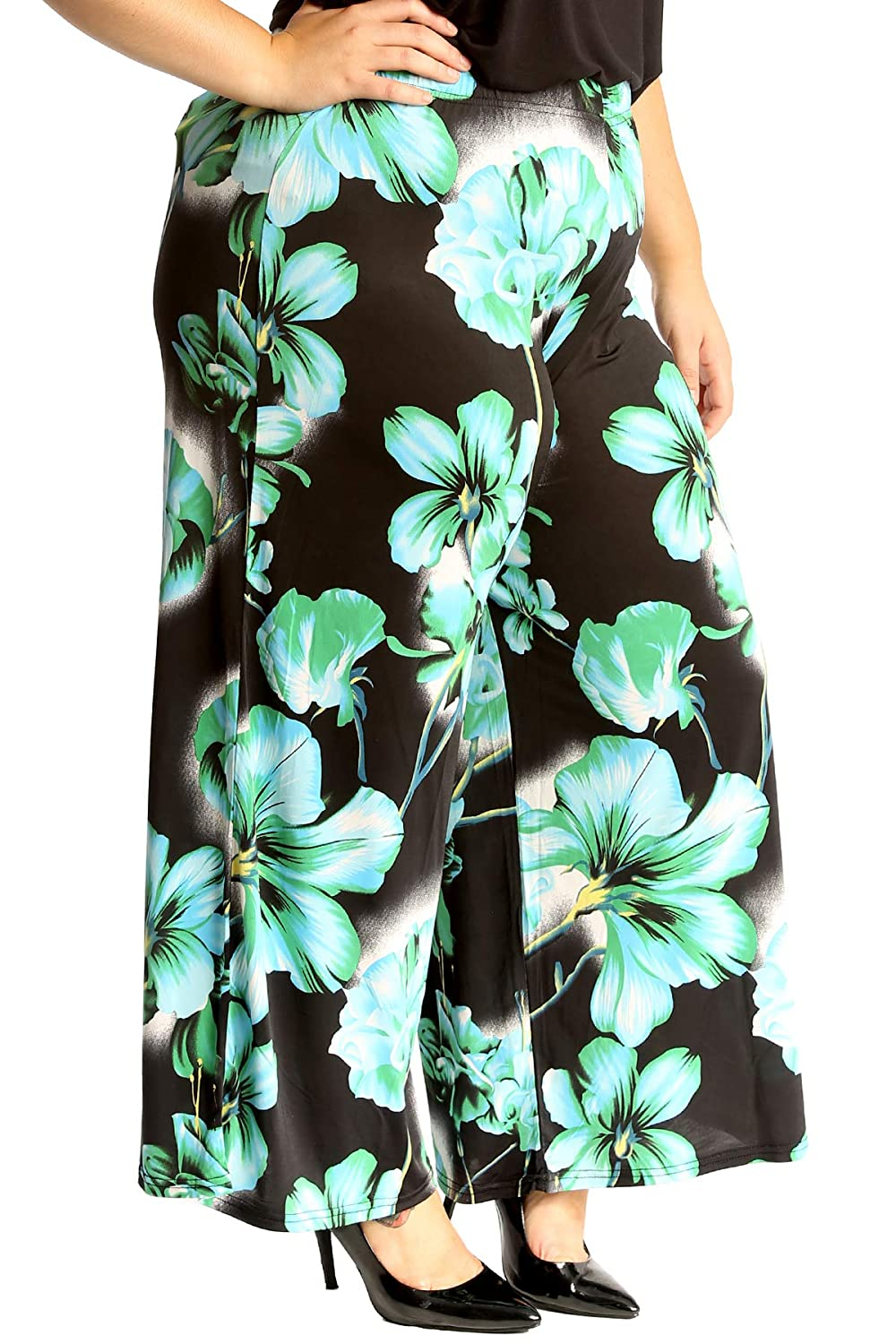 c8abf8fcdbb Nouvelle Collection Womens Plus Size Trousers Floral Print Palazzo Pants  Flared Bottoms  Amazon.co.uk  Clothing