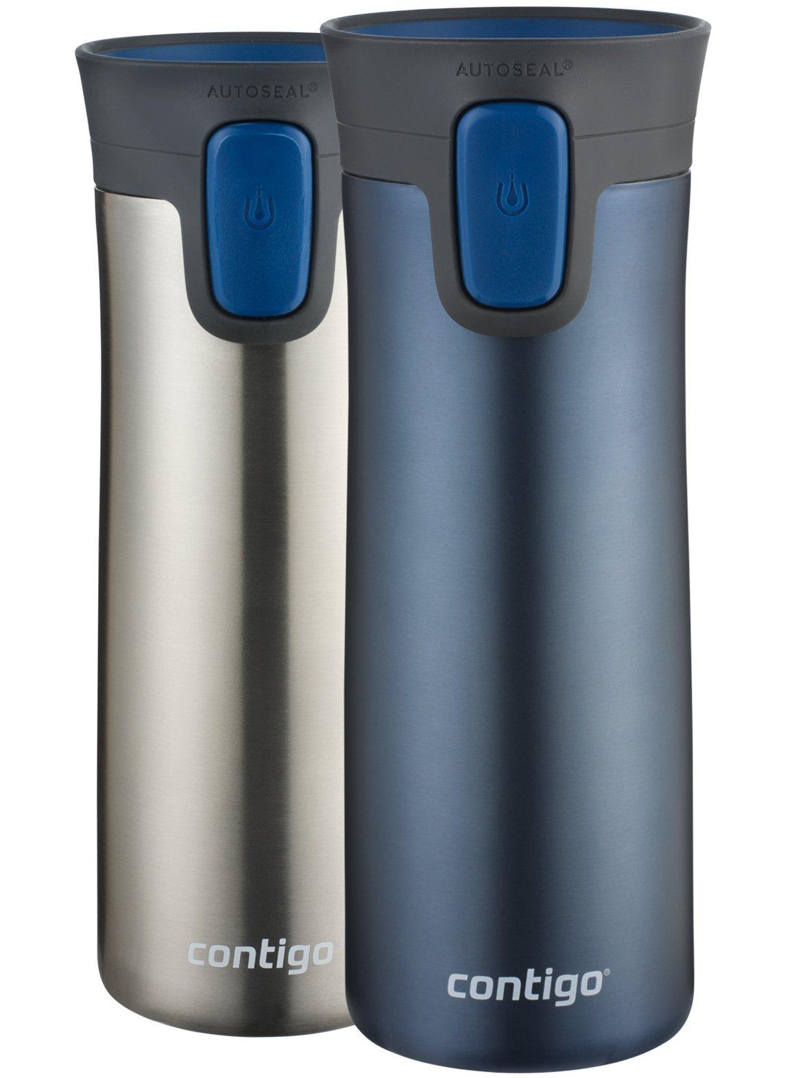 Contigo (2002371) AUTOSEAL Pinnacle Vacuum-Insulated Stainless Steel Travel Mugs, 14 oz, Monaco, 2-Pack