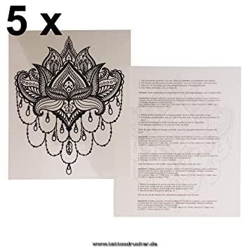 Amazon 5 x mandala lotus flower tattoo indian mandala 5 x mandala lotus flower tattoo indian mandala temporary tattoo mightylinksfo