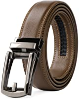 WERFORU Leather Ratchet Dress Belt for Men Perfect Fit Waist with Linxx Buckle