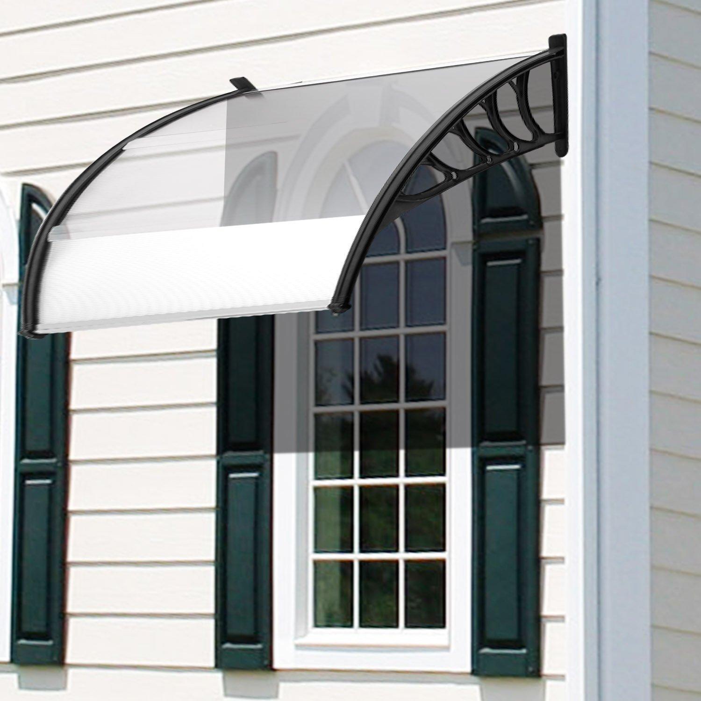 Coorun Vordach Haustür Terrassentür Überdachung Pultvordach Haustürvordach Markise Balkon PC Kunststoff 120 x 90 cm 150 x 90 cm (120 x 90 cm)