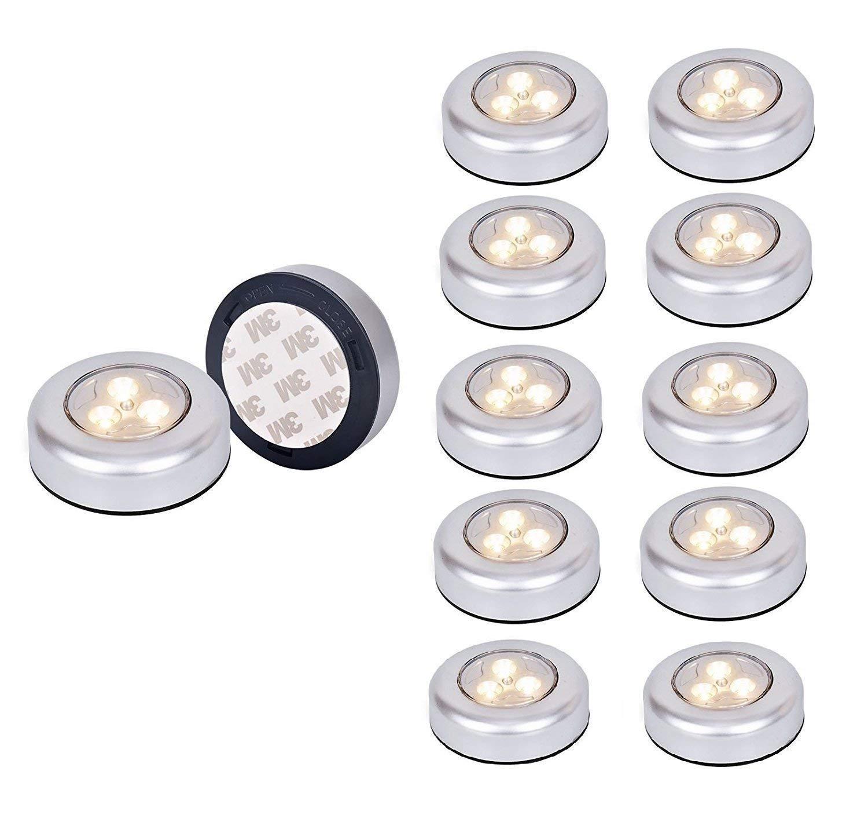 6 Pack Ilyever Led Battery Powered Wireless Night Light Stick Tap Touch Lamp On Push