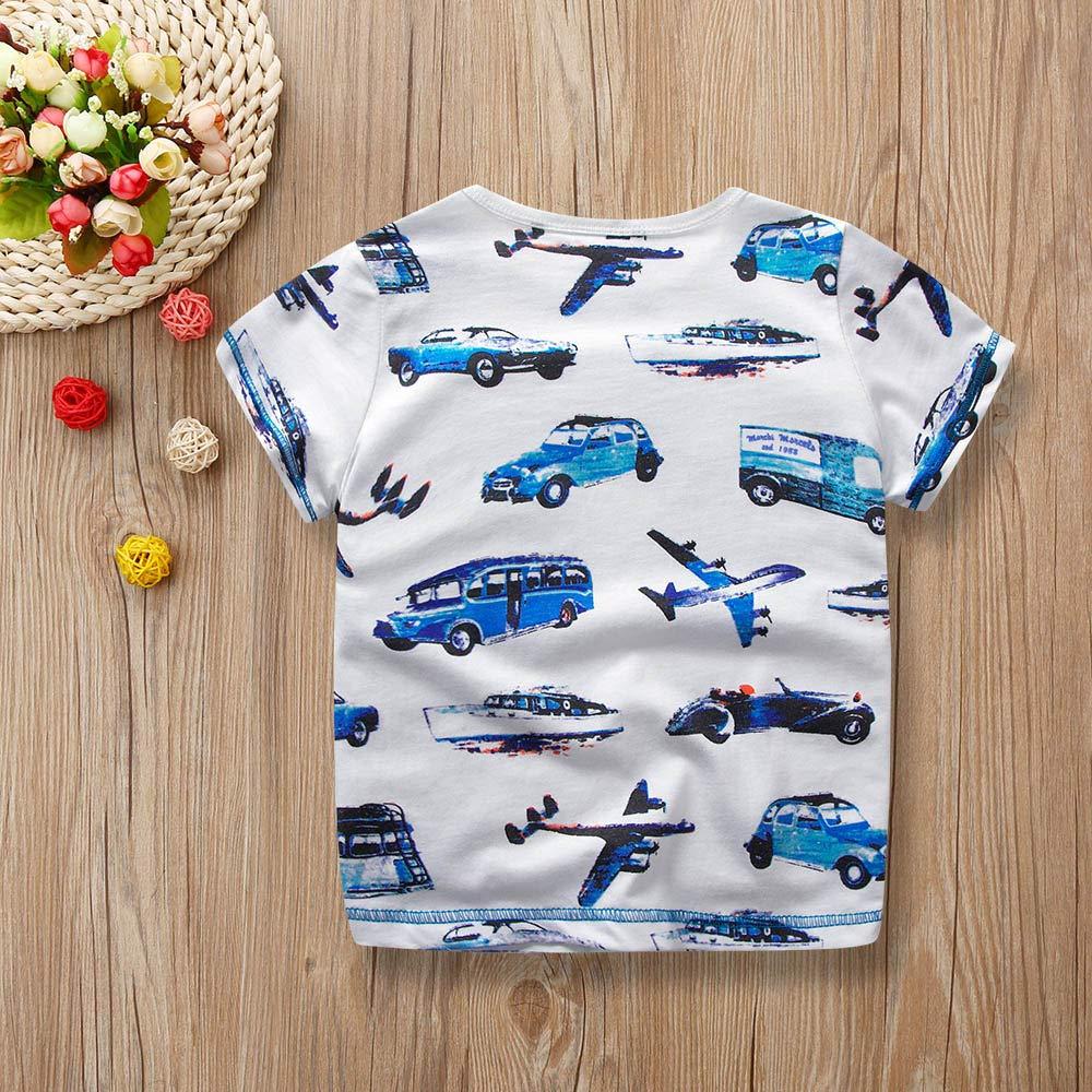 Newmao Toddler Boys Summer Short Sleeve Cartoon Car Aircraft Print T-Shirt Casual Blouse