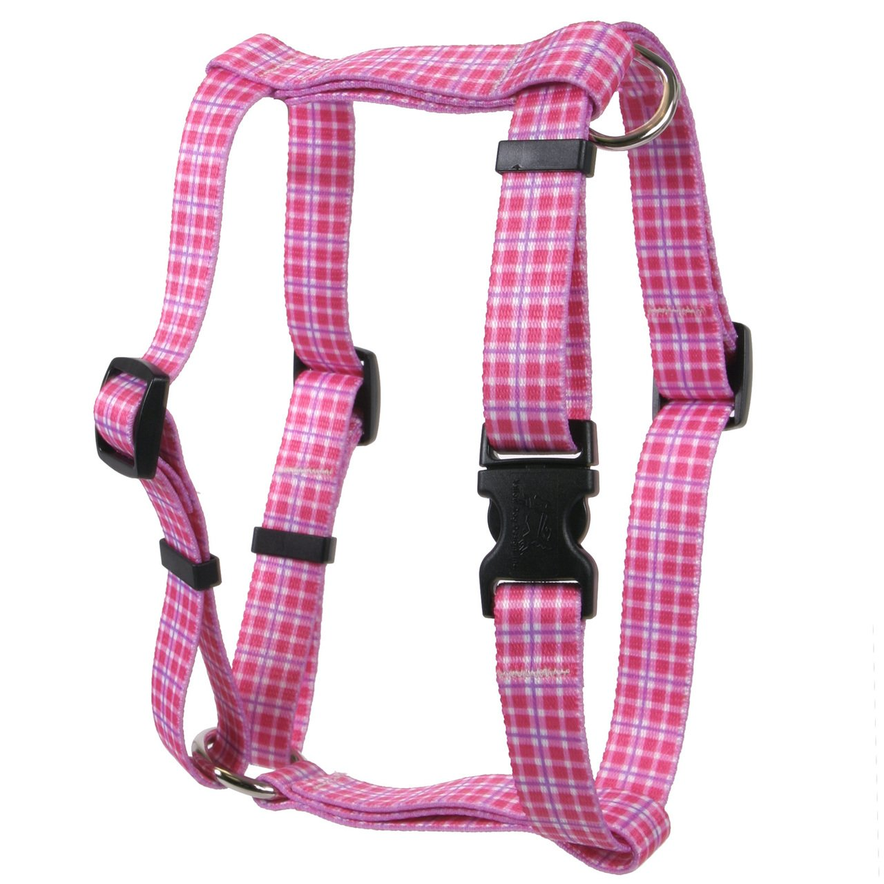 Yellow Dog Design Preppy Plaid Pink Roman Style H Dog Harness, X-Large-1'' Wide and fits Chest of 28 to 36''