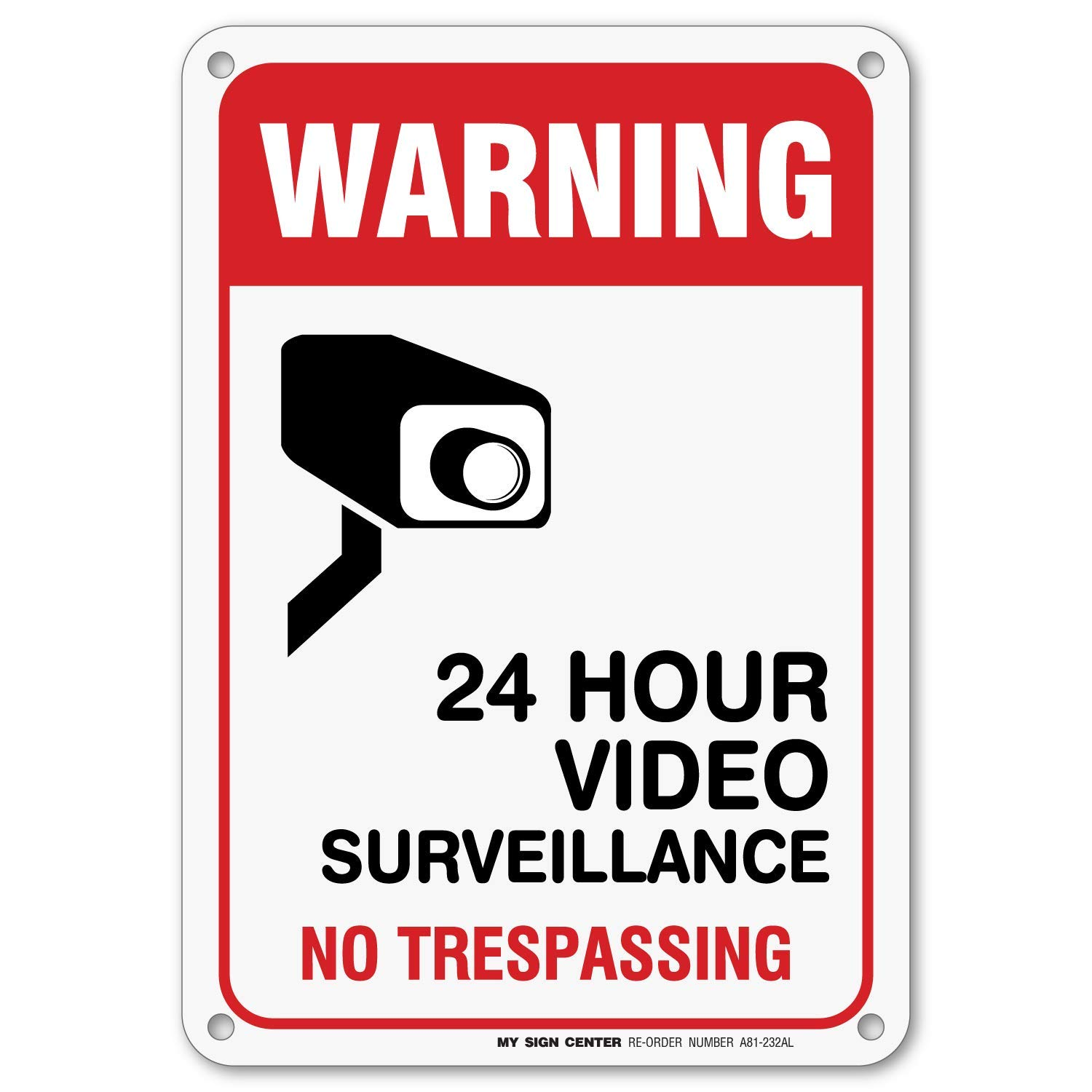 Warning 24 Hour Video Surveillance No Trespassing Sign - Private Property  Signs 10