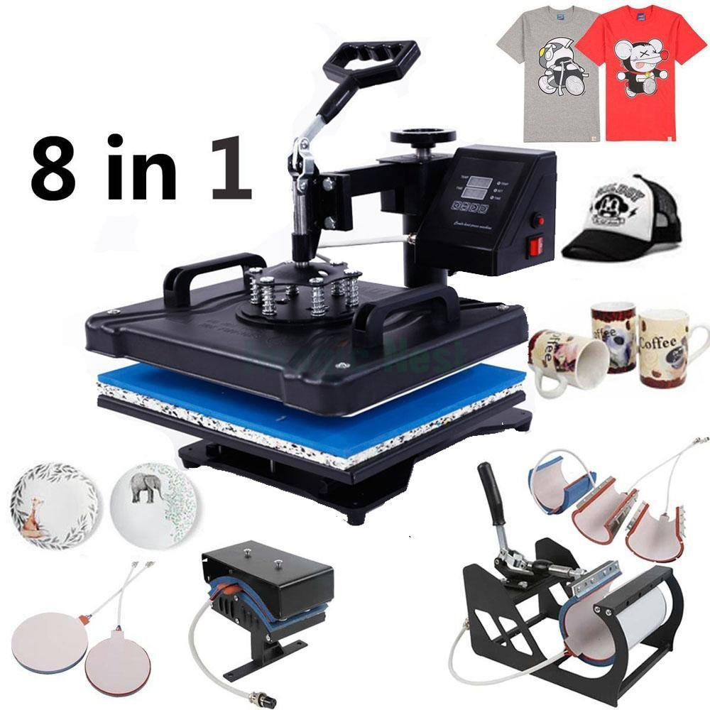Z ZTDM Digital Heat Press Transfer Sublimation Multifunction Machine,Rhinestone/T-Shirt/Hat/Mug/Plate/Cap Heat Press Mouse Pads Jigsaw Puzzles DIY, Curved Element with Dual LCD Timer 110V (8 in 1)