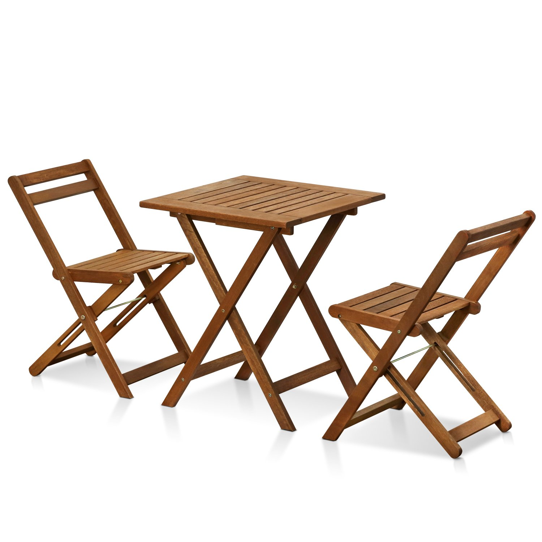 Furinno FG3611298 Tioman Hardwood Patio Furniture Outdoor 3 Piece Bistro Set, Natural