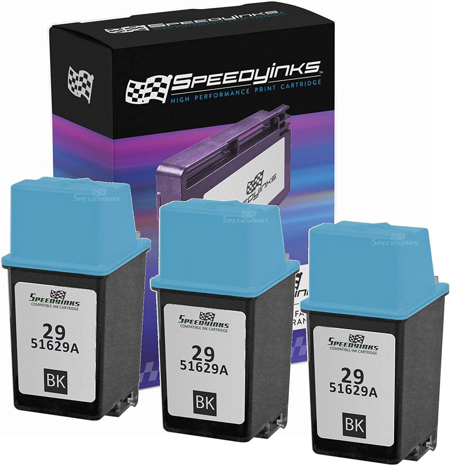 Speedy Inks Remanufactured Toner Cartridge Replacement for HP 29 51629A (Pigment Black, 3-Pack)