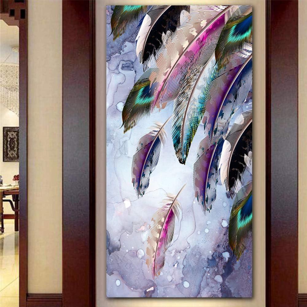 RTCKF Color Decorativo Moderno Pluma Lienzo Pintura Imagen decoración del hogar Arte Lienzo Pintura Cartel Sala de Estar (sin Marco) A1 20x40 cm: Amazon.es: Hogar