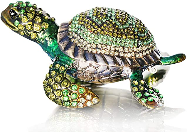 Amazon Com Waltz F Diamond Turtles Hinged Trinket Box Hand Painted Animal Figurine Collectible Green Home Improvement