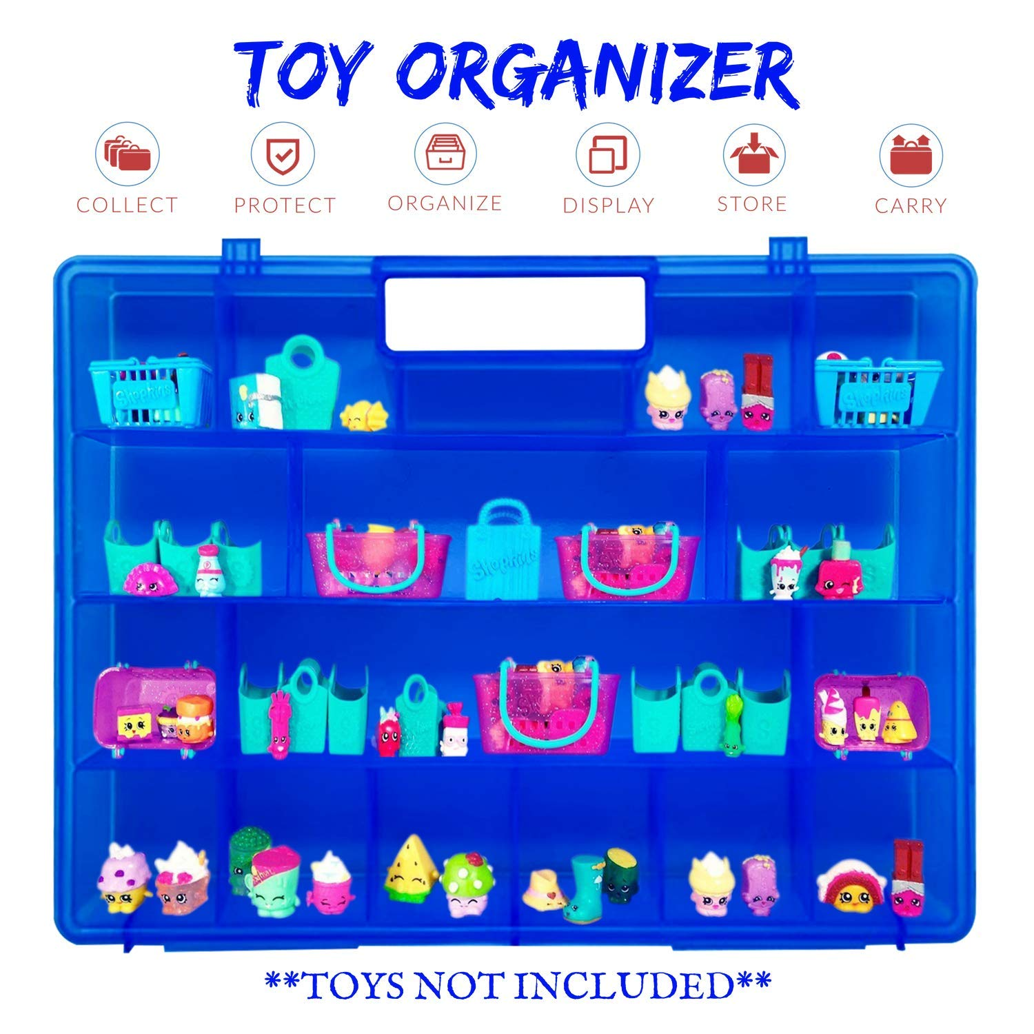Created Compatible Carrying Case for Shopkins /& Accessories Life Made Better Blue Protector Toy Holder /& Storage Box