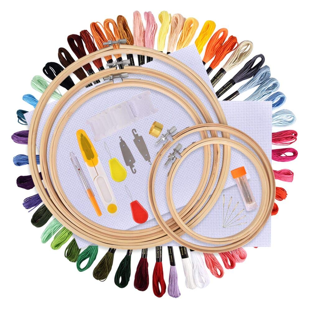 Hisome Full Range of Embroidery Starter Kit Cross Stitch Tool Kit, Including 50 Color Threads, 5 Pieces Bamboo Hoops, 12 by 18-Inch 14 Count Classic Reserve Aida and Needles Set