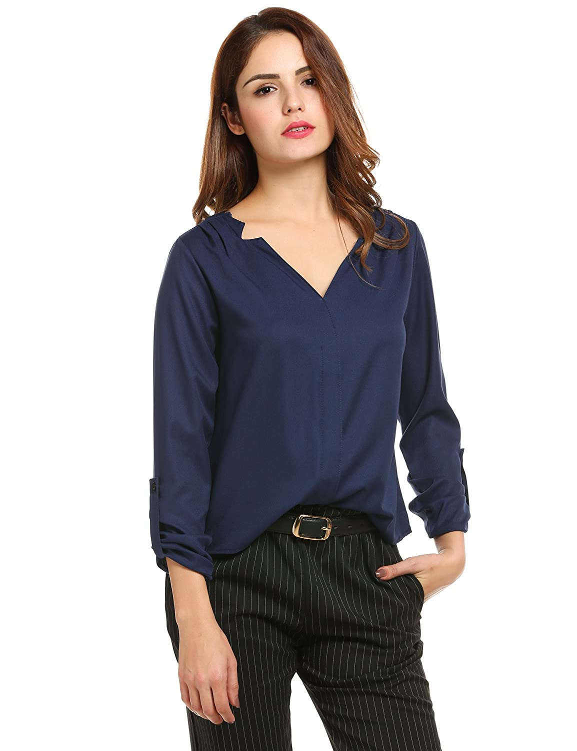 Meaneor Women's Lightweighted V-neck Loose Chiffon Shirt Office Blouse