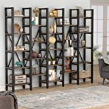 Tribesigns Rustic Super Wide 86 Inch 5 Tier Bookcase with 23 Shelves, 5-Shelf Etagere Large Open Bookshelf Vintage Industrial