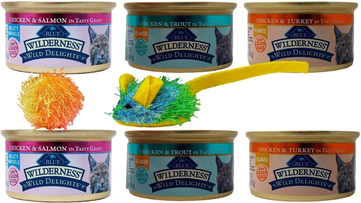 Blue Buffalo Wilderness Wild Delights Grain Free Natural Meaty Morsels Flaked Cat Food 3 Flavor 6 Can Sampler Plus 2 Toys Bundle, (2) Each: Chicken Salmon, Chicken Trout, Chicken Turkey (3 Ounces)