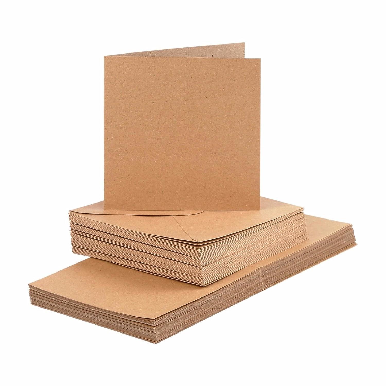 Kraftpapier 100-tlg. BODA Karten und Briefumschl/äge Set 12,5 x 12,5 cm