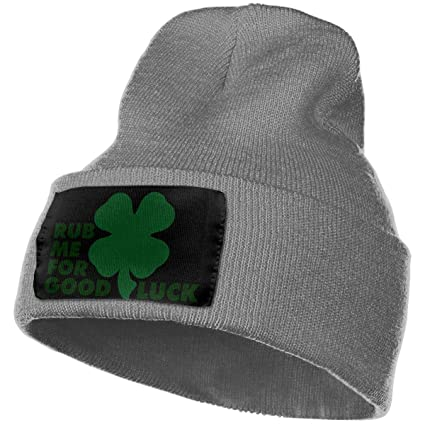 305c9c9a5632d NGFF Women & Men Rub Me for Good Luck St Patricks Day Winter Warm Beanie  Hats Stretch Skull Ski Knit Hat Cap Black at Amazon Men's Clothing store: