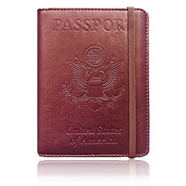 Passport Holder Cover-RFID Blocking PU Leather Passport Case Travel Wallet By Talent (Brown-Band)