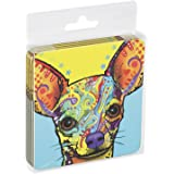 Tree-Free Greetings Set Of 4 Cork-Backed Coasters, 3.75 x 3.75 Inches, Chi-Wowow Themed Dean Russo Dog Art (96192)