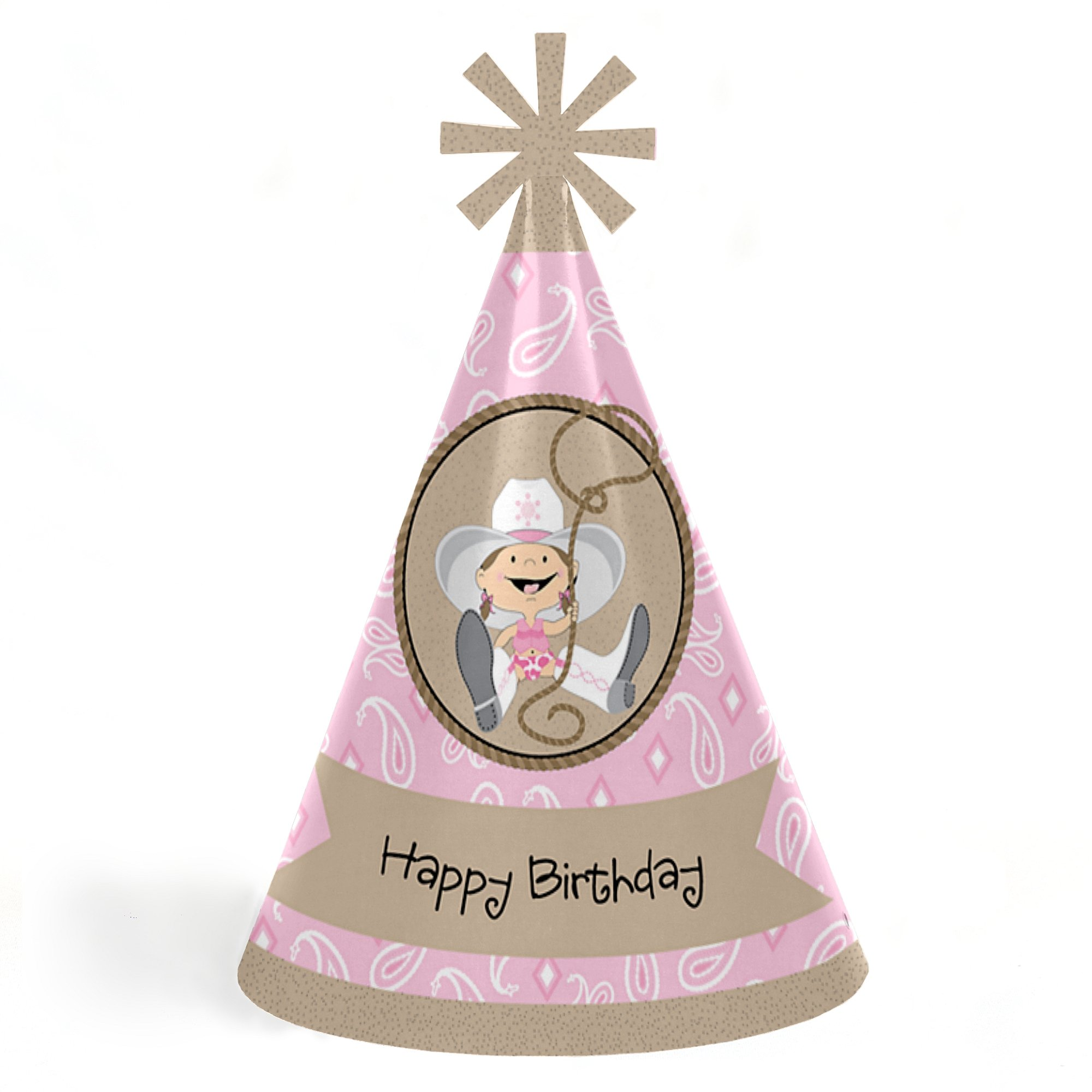 Little Cowgirl - Western Cone Happy Birthday Party Hats for Kids and Adults - Set of 8 (Standard Size)