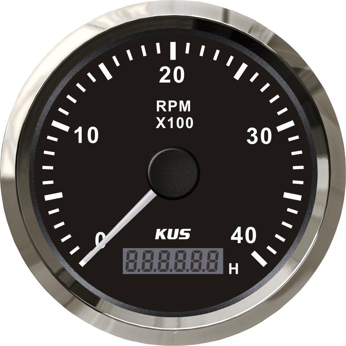 Kus Tachometer mit Stunde Meter 4000RPM fü r Diesel Motor 85 mm 12 V/24 V SPR