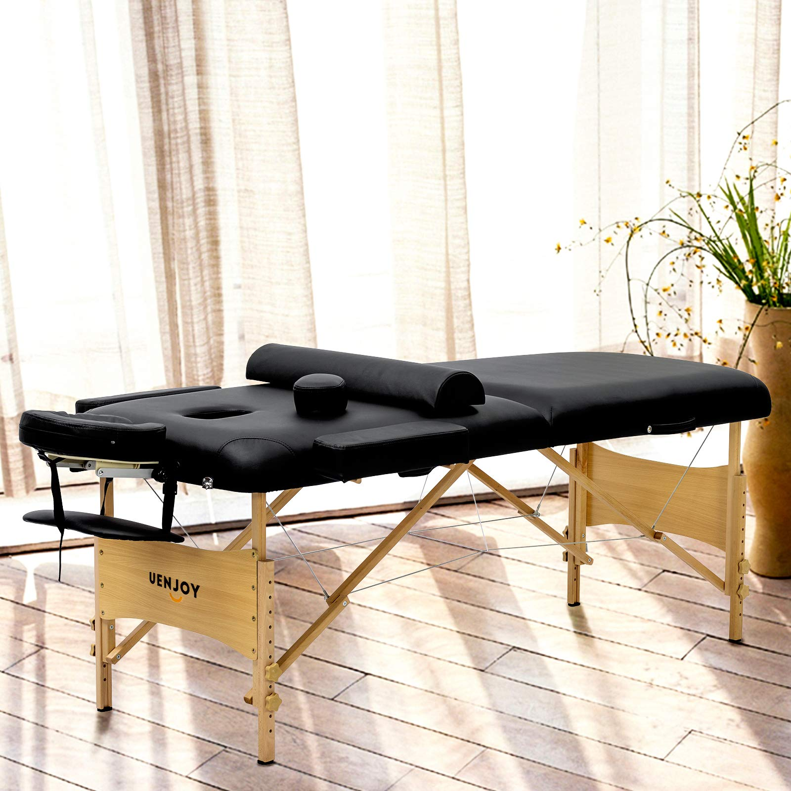 Uenjoy Massage Table 84'' Professional Folding Massage Bed Deluxe Model with Extra Width, Ultra-thick Sponge, PU Leather Surface & Additional Accessories, 2 Fold, Black by Uenjoy (Image #3)