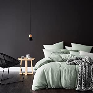 Eikei Washed Cotton Chambray Duvet Cover Solid Color Casual Modern Style Bedding Set Relaxed Soft Feel Natural Wrinkled Look (Queen, Celadon)