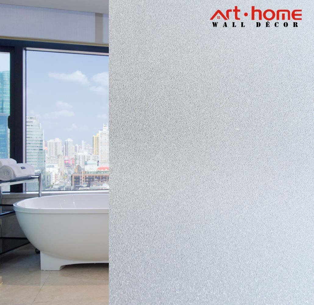 Arthome 35.4 x100 inch Privacy Window Glass Films No Glue Frosted Static Cling UV Protection Heat Control Home Decorative Sticker for Living Room Bathroom Bedroom Kitchen Office (90 x 254 CM,AH017)
